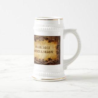 Caneca De Cerveja Casamento ocidental do vaqueiro rústico do país