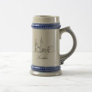 Caneca De Cerveja Chique simples do desenho do esboço elegante