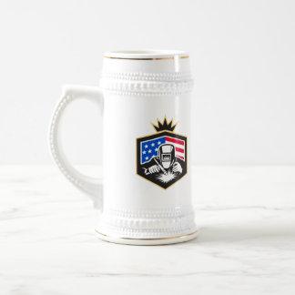 Caneca De Cerveja Crista da bandeira dos EUA da soldadura de arco do