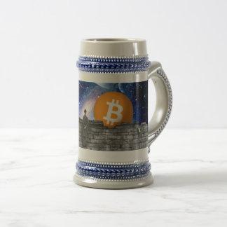 Caneca de cerveja da cerveja de Bitcoin