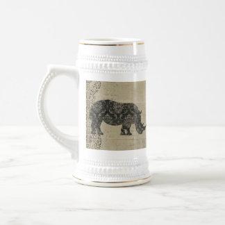 Caneca de cerveja da silhueta dos rinocerontes