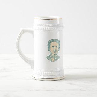 Caneca De Cerveja Desenho do escritor de Edgar Allan Poe