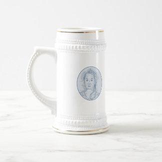 Caneca De Cerveja Desenho oval do busto do século XVIII da