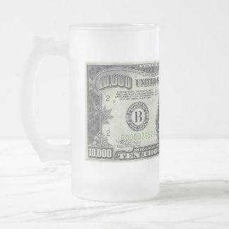 Caneca de cerveja do vidro de fosco da nota de