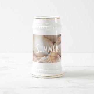 Caneca De Cerveja Escudos do mar, romântico tropical exótico da