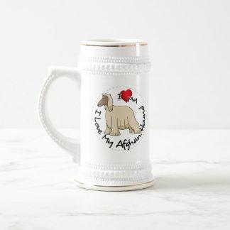 Caneca De Cerveja Eu amo meu cão de galgo afegão