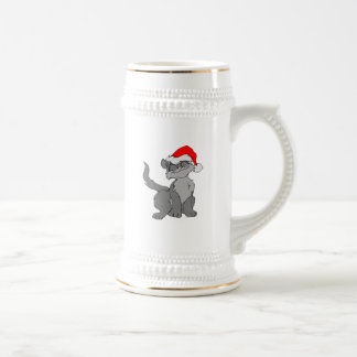 Caneca De Cerveja Gato de Papai Noel com um chapéu vermelho do papai