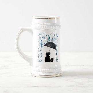 Caneca De Cerveja Gato sob o guarda-chuva