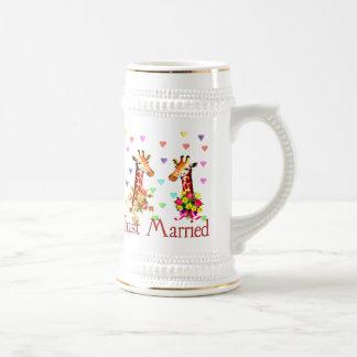 Caneca De Cerveja Girafas do casamento
