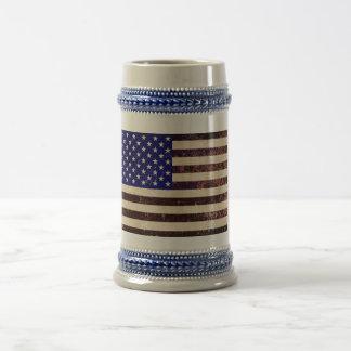 Caneca De Cerveja Grunge do vintage da bandeira americana