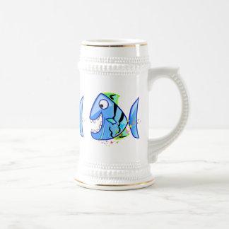 Caneca De Cerveja Piranha tropical azul com estrelas