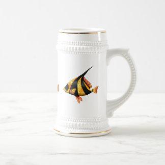 Caneca De Cerveja Preto e peixes tropicais do ângulo do ouro