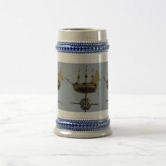 Caneca De Cerveja Rosa de compasso /Blue cinzento de Calyon do ouro