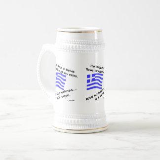 Caneca De Cerveja Sangue de Hélade da bandeira e tempos gregos 3 de