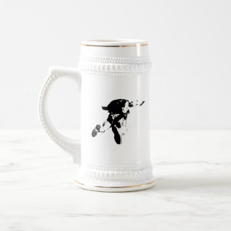 Caneca De Cerveja Skydiving preto & branco