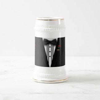 Caneca De Cerveja Smoking do monograma da ocasião Wedding ou