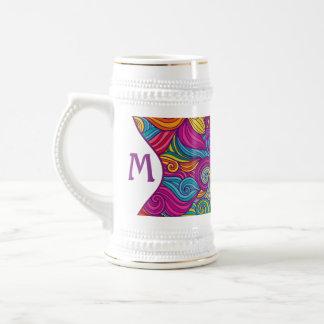 Caneca De Cerveja Teste padrão de onda colorido retro de Swirly do