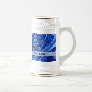 Caneca De Cerveja Teste padrão digital azul do floco de neve