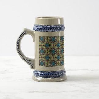 Caneca De Cerveja Teste padrão floral étnico abstrato colorido de da