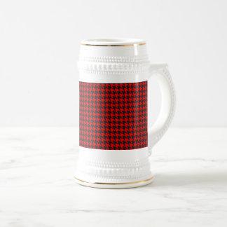 Caneca De Cerveja Teste padrão vermelho e preto de Houndstooth