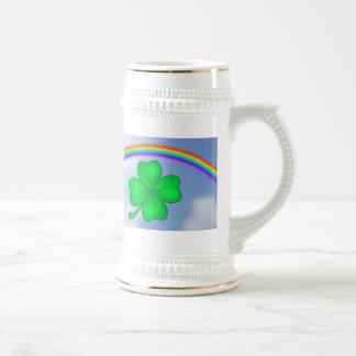 Caneca De Cerveja Trevo De Quatro Folhas com arco-íris