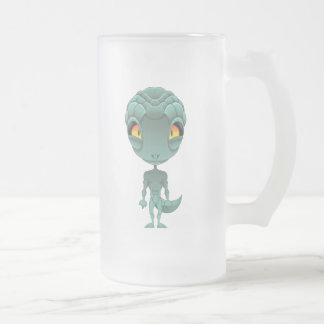 Caneca De Cerveja Vidro Jateado Alienígena bonito do Reptilian