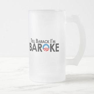 Caneca De Cerveja Vidro Jateado Anti-Obama - diga Barack Im Baroke