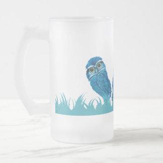 Caneca De Cerveja Vidro Jateado Arte Burrowing azul lunática e adorável da coruja