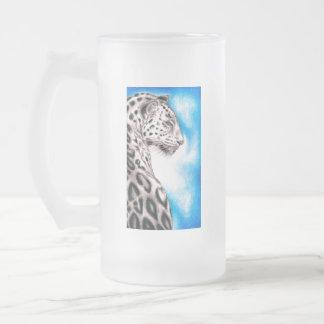 Caneca De Cerveja Vidro Jateado Arte de Jaguar