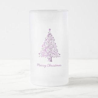 Caneca De Cerveja Vidro Jateado Árvore de Natal cor-de-rosa decorativa estrelado