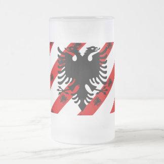 Caneca De Cerveja Vidro Jateado Bandeira albanesa das listras