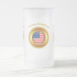 Caneca De Cerveja Vidro Jateado Bandeira americana da nação com um quadro do ouro