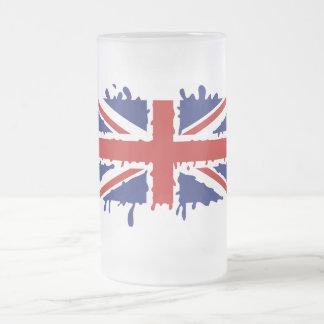 Caneca De Cerveja Vidro Jateado Bandeira britânica do respingo da pintura