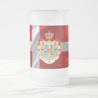 Caneca De Cerveja Vidro Jateado Bandeira-Casaco dinamarquês dos braços