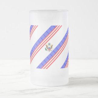 Caneca De Cerveja Vidro Jateado Bandeira das listras dos Estados Unidos