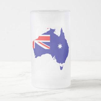 Caneca De Cerveja Vidro Jateado Bandeira de país australiana