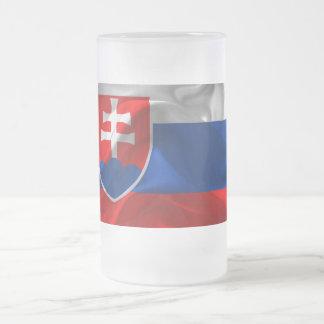 Caneca De Cerveja Vidro Jateado Bandeira de Slovakia