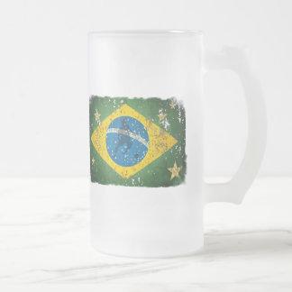 Caneca De Cerveja Vidro Jateado Bandeira do Grunge de Brasil para brasileiros no