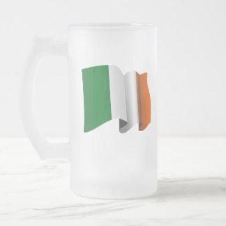 Caneca De Cerveja Vidro Jateado Bandeira irlandesa