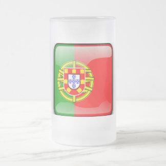 Caneca De Cerveja Vidro Jateado Bandeira lustrosa de Portugal