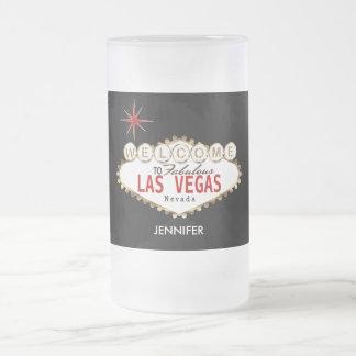 Caneca De Cerveja Vidro Jateado Boa vinda a Las Vegas - vermelho e ouro