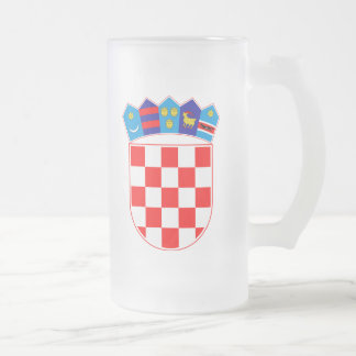 Caneca De Cerveja Vidro Jateado Brasão de Croatia