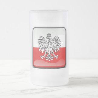 Caneca De Cerveja Vidro Jateado Brasão polonesa
