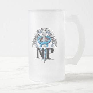 Caneca De Cerveja Vidro Jateado Caduceus do azul do NP