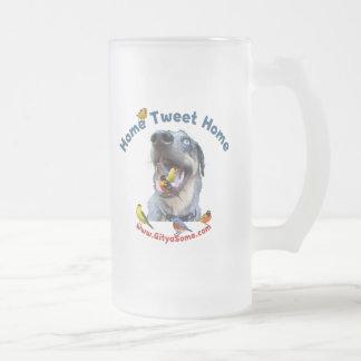 Caneca De Cerveja Vidro Jateado Cão de pássaro Home da casa do Tweet