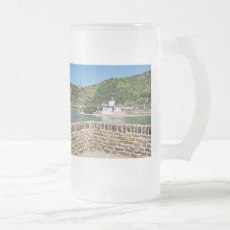 Caneca De Cerveja Vidro Jateado Castelo pedra de conde de palatinado com Kaub
