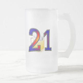 Caneca De Cerveja Vidro Jateado Cerveja do aniversário de 21 anos