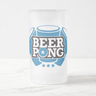 Caneca De Cerveja Vidro Jateado Cerveja Pong 3 copos - azul