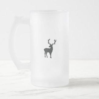 Caneca De Cerveja Vidro Jateado Cervos preto e branco