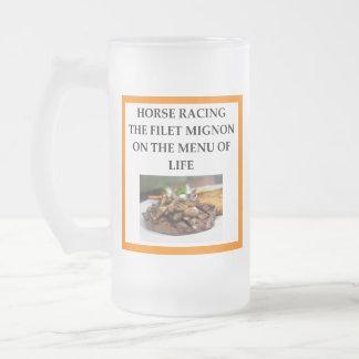 Caneca De Cerveja Vidro Jateado corrida de cavalos